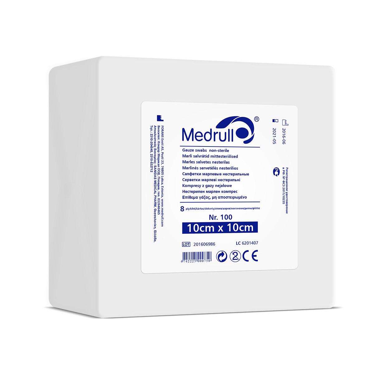 Medrull Салфетки марлевые медицинские N100, 8-слойные, нестерильные, 10х10 см0003934САЛФЕТКИ МАРЛЕВЫЕ НЕСТЕРИЛЬНЫЕ/8 СЛ. NR 100 Состав 100% хлопок. Структура материала 17 ниток/см2. Размер 8 сл 10см x 10см