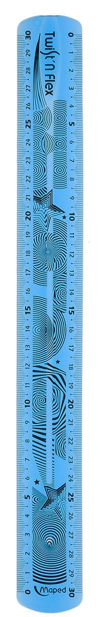 Maped Линейка Twistnflex цвет голубой 30 см027900Линейка Maped Twistn Flex используется как традиционный инструмент для черчения и отрисовки полей в школьных тетрадях и как своеобразная игрушка для снятия напряжения. Гибкий пластик можно гнуть и сворачивать, не опасаясь его сломать. Гибкая линейка голубого цвета длиной 30 см поместится в любой пенал, ведь ее можно скрутить или сложить пополам. Градуировка нанесена на оба края линейки УФ-чернилами, которые не сотрутся при длительном использовании.