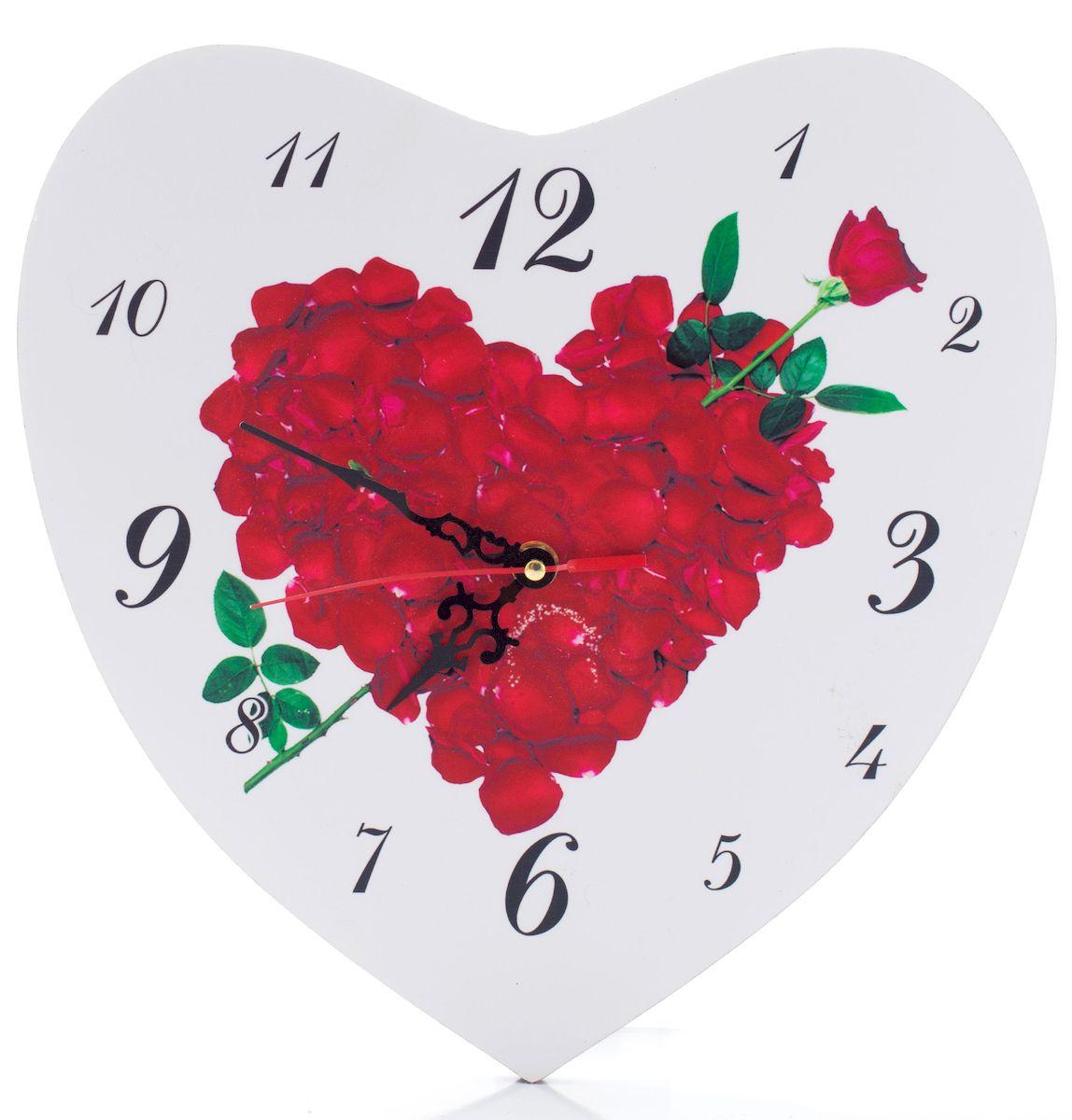 Часы настенные Русские Подарки Сердце, диаметр 30 см. 3824438244Настенные кварцевые часы Русские Подарки Сердце изготовлены из МДФ. Корпус оригинально оформлен в виде сердечка. Часы имеют три стрелки - часовую, минутную и секундную. С обратной стороны имеется петелька для подвешивания на стену. Такие часы красиво и необычно оформят интерьер дома или офиса. Также часы могут стать уникальным, полезным подарком для родственников, коллег, знакомых и близких. Часы работают от батареек типа АА (в комплект не входят).