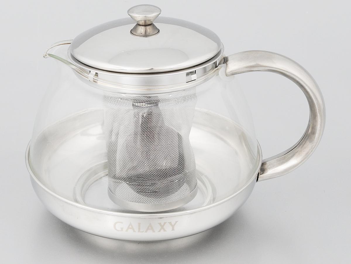 Чайник заварочный Galaxy, с ситечком, 1 л94672Заварочный чайник Galaxy поможет приготовить вкусный и ароматный чай. Корпус выполнен из высококачественной нержавеющей стали, а колба - из жаропрочного боросиликатного стекла. Чайник снабжен съемным металлическим ситечком. Пластиковая мерная ложка в комплекте.Можно мыть в посудомоечной машине. Диаметр (по верхнему краю): 8,5 см. Высота чайника (без учета крышки): 9,5 см. Длина ложки: 10 см. Высота ситечка: 8 см.