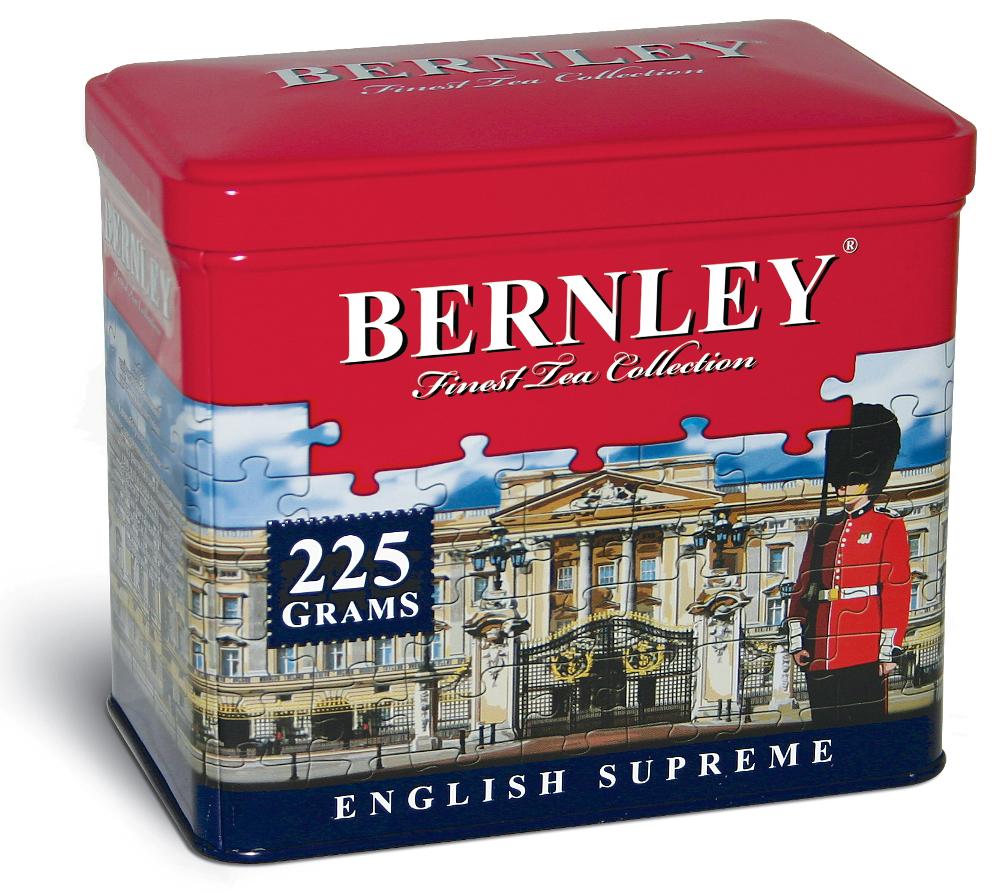 Bernley English Supreme черный листовой чай, 225 г (ж/б)0120710Листовой черный чай торговой марки Bernley с его первозданной свежестью и поистине аристократическим благородством - прекрасный выбор для искушенных ценителей настоящего цейлонского чая высшего качества.