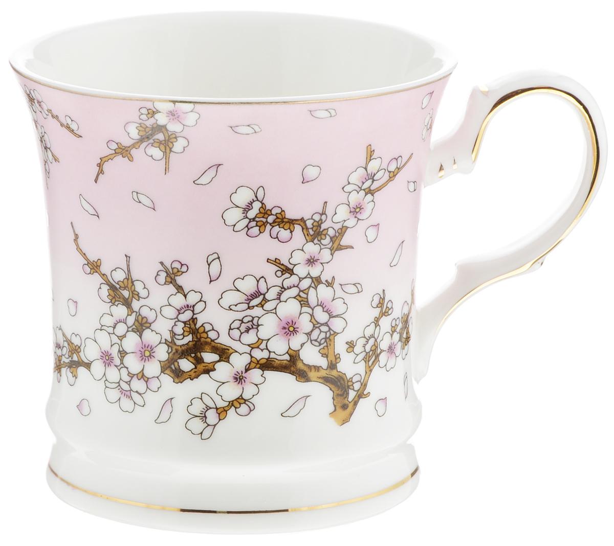 Кружка Elan Gallery Сакура на розовом, 170 мл115610Кружка Elan Gallery Сакура на розовом изготовлена из керамики и украшена стильным цветочным рисунком. Изгиб ручки и основание подчеркнуты золотистой каймой. Кружка станет оригинальным подарком!Диаметр кружки (по верхнему краю): 7,5 см.Высота: 7,5 см. Объем: 170 мл.