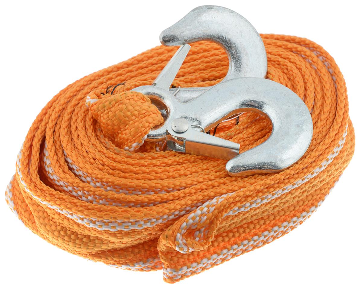 Трос буксировочный Azard, ленточный, с 2 крюками, с чехлом, 3,5 т, 4,5 мТР000007_оранжевый, белый, стальнойБуксировочный трос Azard представляет собой ленту из сверхпрочной полиамидной (капроновой) нити и два стальных крюка. Специальное плетение ленты обеспечивает эластичность троса и плавный старт автомобиля при буксировке. На протяжении всего срока службы не меняет свои линейные размеры. Трос морозостойкий, влагостойкий и устойчив к агрессивным средами воздействию нефтепродуктов. Длина троса соответствует ПДД РФ. Буксировочный трос обязательно должен быть в каждом автомобиле. Он необходим на случай аварийной ситуации или если ваш автомобиль застрял на бездорожье или попал в аварийную ситуацию. В комплект входит чехол для транспортировки и хранения троса. Максимальная нагрузка: 3,5 т. Длина троса: 4,5 м.