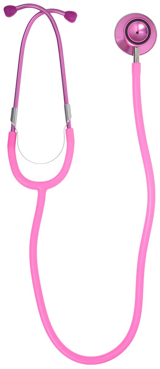 Amrus Стетоскоп медицинский терапевтический с двойной цветной головкой диаметр мембраны 44 мм, диаметр воронки 28 мм, цвет: розовый. 04-АМ40404-АМ404_розовыйХарактеристики: Двухсторонняя цветная металлическая вращающаяся головка с большой чувствительной мембраной; Воронка с резиновым кольцом, не вызывающим озноба; Удобный поворотный механизм переключения между рабочими поверхностями воронки и мембраны; Прочная Y-образная звукопроводящая трубка; Съемные хромированные бинауральные трубки с наружной пружиной; Виниловые ушные оливы конической формы; Диаметр мембраны 44 мм.; Диаметр воронки 28 мм.; Диаметр трубки 9 мм.; Длина трубки 55 мм.; Цветовая гамма: черный Гарантийный срок эксплуатации – один год со дня ввода в эксплуатацию. Модель используется для прослушивания сердца, легких и других внутренних органов у взрослых пациентов.