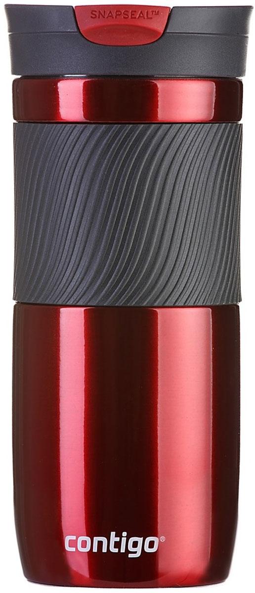 Термокружка Contigo Byron, цвет: красный, 470 млVT-1520(SR)Термокружка Contigo Byron, изготовленная из высококачественной матированной нержавеющей стали и пищевого пластика, подходит как для холодных, так и для горячих напитков. Жидкость сохраняется горячей до 7 часов, холодной - до 18 часов. Изделие оснащено крышкой с открывающимся клапаном, что очень удобно для питья. Специальное устройство Snapseal открывает и закрывает клапан. Рельефная резиновая вставка на корпусе кружки обеспечивает удобный хват и защищает руки от воздействия высоких температур.С такой термокружкой вы где угодно сможете насладиться вашими любимыми напитками: в поездке, на прогулке, на работе или учебе. Изделие удобно брать с собой. Подходит для мытья в посудомоечной машине.