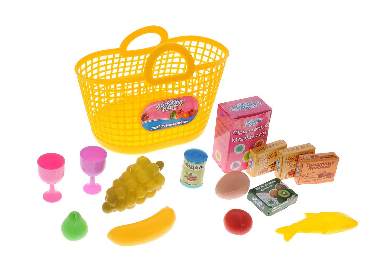 ABtoys Набор продуктов в корзине 14 предметов цвет желтый