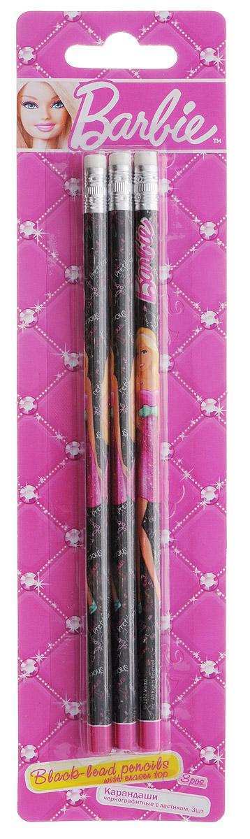 Barbie Набор чернографитных карандашей с ластиком 3 шт610842Набор чернографитных карандашей Barbie пригодится на рабочем столе и в пенале любой школьницы или студентки.Круглый корпус карандаша изготовлен из древесины, гладкость которой обеспечена многослойной покраской, и оформлен изображением знаменитой куклы Барби. На торце расположен металлический наконечник с ластиком.Комплект включает три незаточенных чернографитных карандаша.