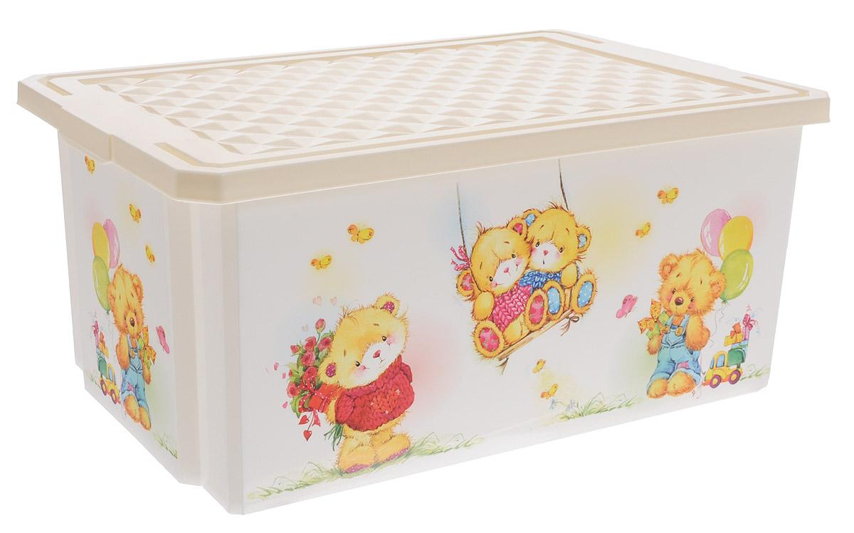 Little Angel Детский ящик для хранения игрушек X-BOX Bears 12 л цвет слоновая кость