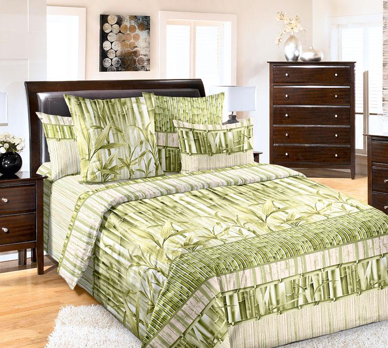Комплект белья Текс-Дизайн Бамбук, 2-спальный, наволочки 70x70. 2200ПS03301004Дизайн Бамбук выполнен в современном ЭКО-стиле: мягкие зеленые оттенки, природные мотивы и необычная композиция. Дух восточного бамбукового леса наполнит ваш сон спокойствием и безмятежностью. Перкаль - это тонкая и легкая хлопчатобумажная ткань высокой плотности полотняного переплетения, сотканная из пряжи высоких номеров. При изготовлении перкаля используются длинноволокнистые сорта хлопка, что обеспечивает высокие потребительские свойства материала. Несмотря на свою утонченность, перкаль очень практичен - это одна из самых износостойких тканей для постельного белья.