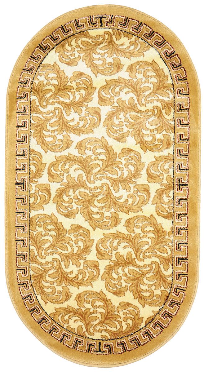 Ковер Kamalak Tekstil, овальный, 80 x 150 см. УК-0287UP210DFКовер Kamalak Tekstil изготовлен из прочного синтетического материала heat-set, улучшенного варианта полипропилена (эта нить получается в результате его дополнительной обработки). Полипропилен износостоек, нетоксичен, не впитывает влагу, не провоцирует аллергию. Структура волокна в полипропиленовых коврах гладкая, поэтому грязь не будет въедаться и скапливаться на ворсе. Практичный и износоустойчивый ворс не истирается и не накапливает статическое электричество. Ковер обладает хорошими показателями теплостойкости и шумоизоляции. Оригинальный рисунок позволит гармонично оформить интерьер комнаты, гостиной или прихожей. За счет невысокого ворса ковер легко чистить. При надлежащем уходе синтетический ковер прослужит долго, не утратив ни яркости узора, ни блеска ворса, ни упругости. Самый простой способ избавить изделие от грязи - пропылесосить его с обеих сторон (лицевой и изнаночной). Влажная уборка с применением шампуней и моющих средств не противопоказана. Хранить рекомендуется в свернутом рулоном виде.