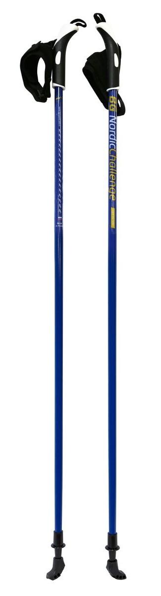 Палки для скандинавской ходьбы BG Nordic Challenge, цвет: синий, длина 120 см82867Надёжные и удобные палки, фиксированной длины, для скандинавской(нордической) ходьбы, выполненные из облегчённого алюминиевого сплава Light Alu 6061. Окрашенный стержень. Двухкомпонентная пластиковая ручка. Темляк-капкан. Стальной наконечник. Резиновые наконечники (башмачки).