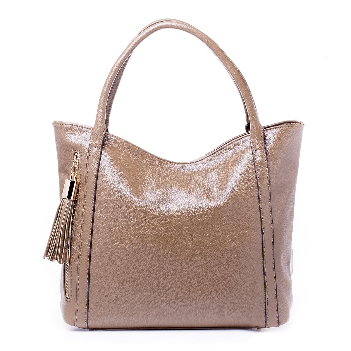 Сумка женская Renee Kler, цвет: песочный. RK510-04101057Сумка Renee Kler выполнена из искусственной кожи. Изделие застегивается на молнию. Внутри расположен разделитель на молнии, а также карманы для мелочей и мобильного телефона. Снаружи на задней стороне сумки имеется прорезной карман на молнии, с передней стороны сумки расположен вертикальный карман на молнии с бегунком, дополненным кисточкой. Сумка имеет две короткие ручки.
