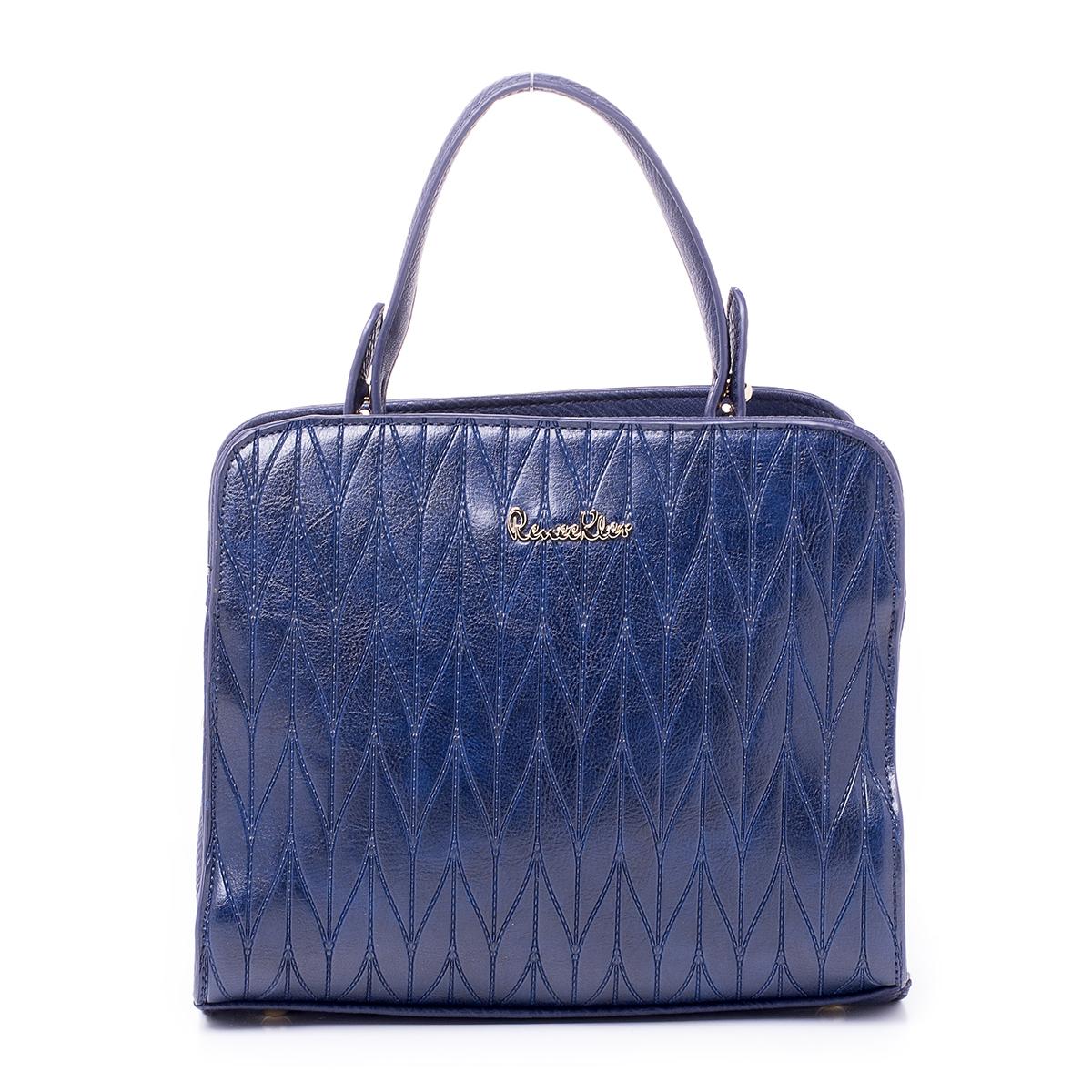Сумка женская Renee Kler, цвет: темно-синий. RK514-06RK514-06Сумка Renee Kler, выполненная из высококачественной искусственной кожи, оформлена декоративным тиснением и металлической пластинкой с названием бренда. На тыльной стороне расположен вшитый карман на молнии. Сумка имеет одну ручку и съемный плечевой ремень, длина которого регулируется с помощью пряжки. Также сумка оснащена металлическими ножками, которые предотвратят повреждение дна сумки. Изделие закрывается с помощью застежки-молнии. Внутри расположено два отделения, которые содержат два накладных открытых кармана для телефона и мелочей и один вшитый карман на молнии. В комплект входит чехол для хранения изделия.