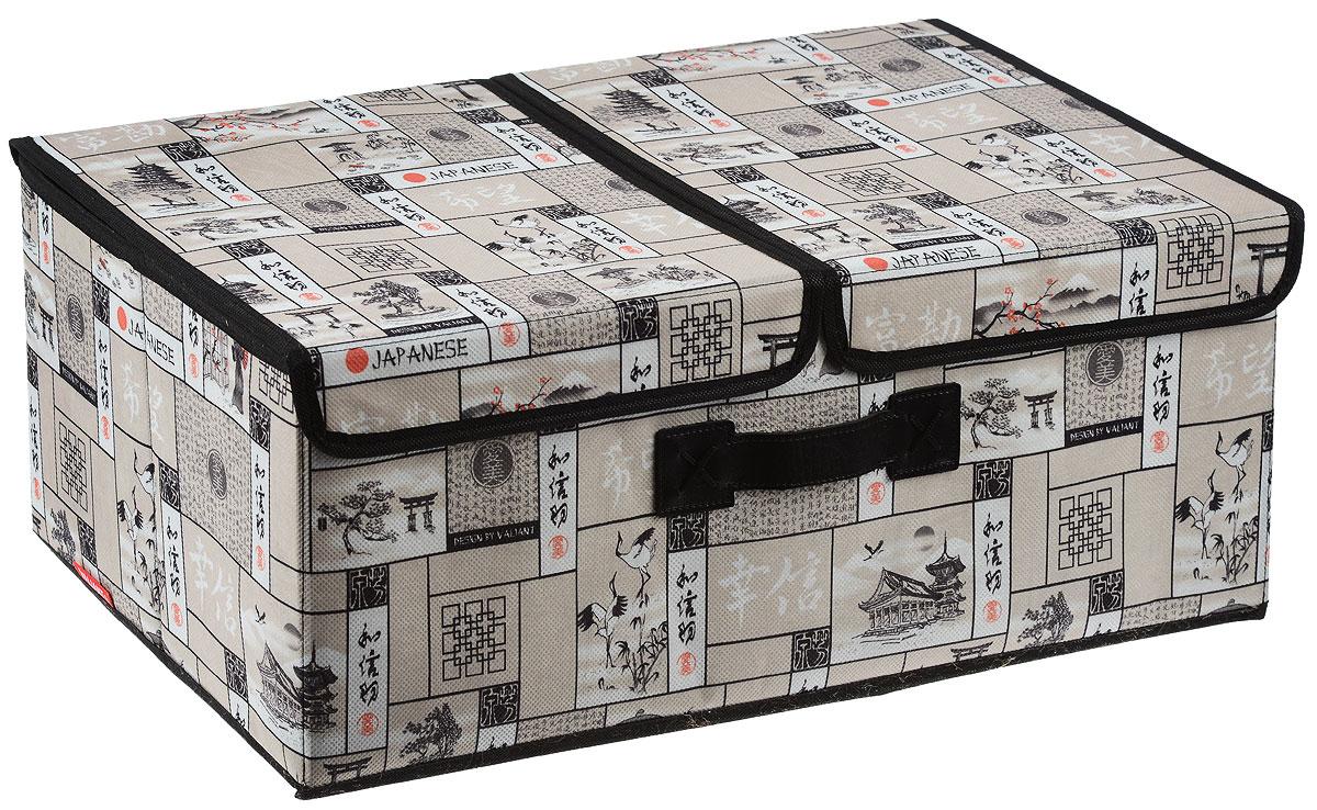Короб стеллажный Valiant Japanese White, двухсекционный, 50 х 30 х 20 смJW-BOX-L2Стеллажный короб Valiant Japanase White изготовлен из высококачественного нетканого материала, который обеспечивает естественную вентиляцию, позволяя воздуху проникать внутрь, но не пропускает пыль. Вставки из плотного картона хорошо держат форму. Короб снабжен двумя секциями и специальными крышками, которые фиксируются с помощью липучек. Изделие отличается мобильностью: легко раскладывается и складывается. В таком коробе удобно хранить одежду, белье и мелкие аксессуары. Красивый авторский дизайн прекрасно впишется в интерьер. Система хранения Japanase White создаст трогательную атмосферу романтического настроения в женском гардеробе. Оригинальный дизайн придется по вкусу ценительницам эстетичного хранения. Системы хранения в едином дизайне сделают вашу гардеробную изысканной и невероятно стильной.