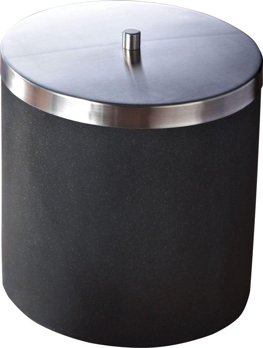 Ведро мусорное Ridder Stone, цвет: черный, 5 л22010810Изделия данной серии устойчивы к ультрафиолету, т.к. изготавливаются из добротной полирезиры Экологичная полирезина — это твердый многокомпонентый материал на основе синтетической смолы, с добавлением каменной крошки и красящих пигментов