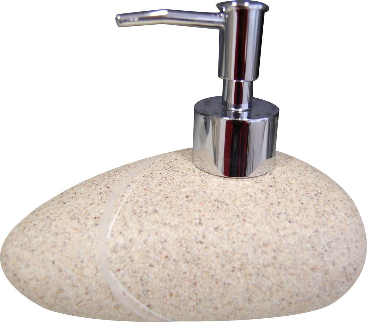Дозатор для жидкого мыла Ridder Little Rock, цвет: бежевый22190509Изделия данной серии устойчивы к ультрафиолету, т.к. изготавливаются из полирезины. Экологичная полирезина - это твердый многокомпонентный материал на основе синтетической смолы, с добавлением каменной крошки и красящих пигментов. Объем: 200 мл.