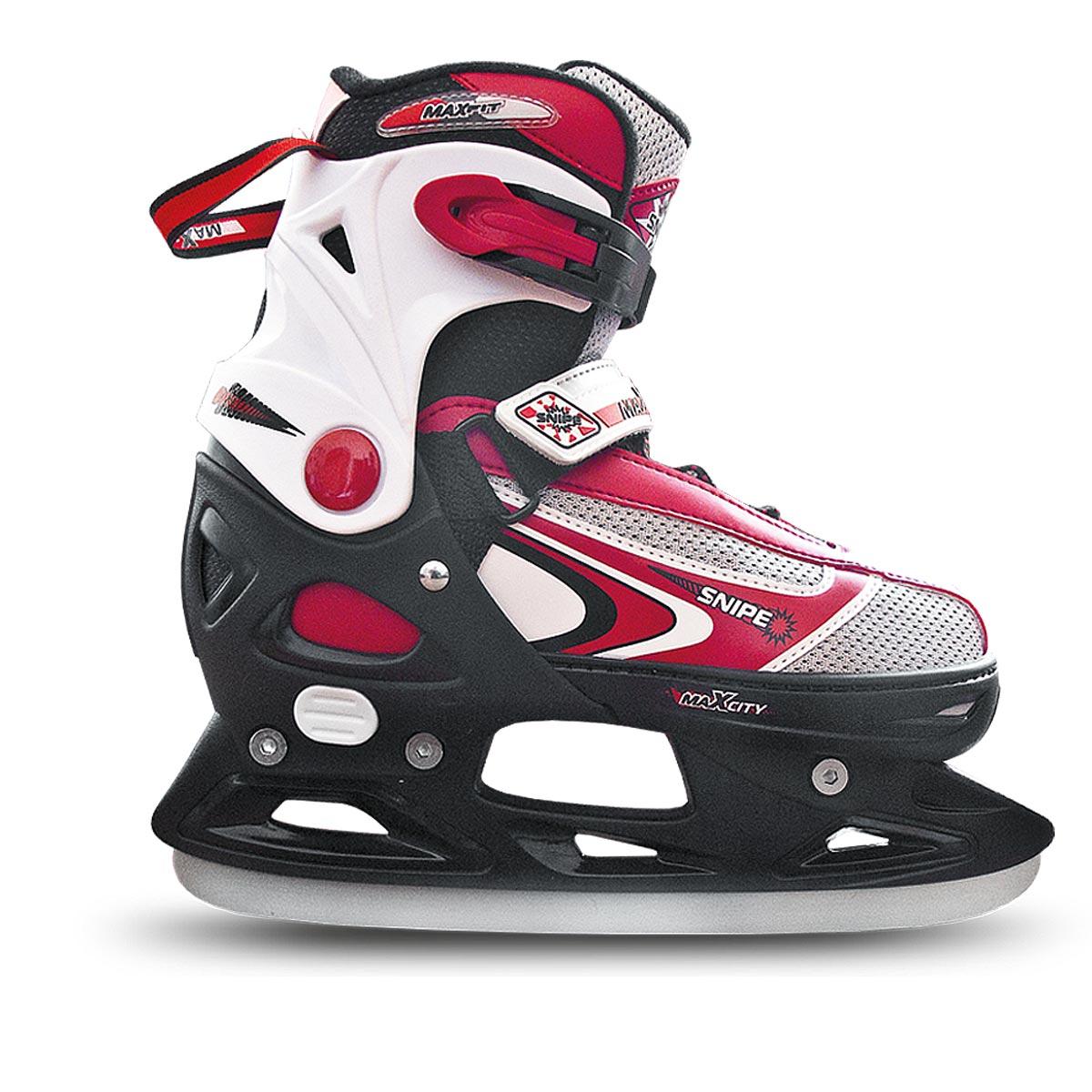 Коньки ледовые для мальчика MaxCity Snipe Boy, раздвижные, цвет: черный, серый, красный. Размер 33/36ASE-611FОригинальные раздвижные ледовые коньки MaxCity с ударопрочной защитной конструкцией отлично подойдут для начинающих. Ботинки изготовлены из морозостойкого пластика, который защитит ноги от ударов, и дополнены нейлоном. Внутренний материал из вельвета и капровелюра отлично согревает и обеспечивает комфорт во время движения. Нейлоновые вставки на язычке предотвращают перегревание и отводят влагу. Высокий ботинок обеспечивает отличную поддержку ноги. Модель застегивается несколькими способами для надежной фиксации ноги - классическая шнуровка, липучка Velcro и пластиковые затягивающиеся ремешки. Стальное лезвие обеспечит превосходное скольжение. Основная особенность коньков - возможность изменения размера. Изменение длины ботинка осуществляется достаточно просто и занимает несколько секунд.