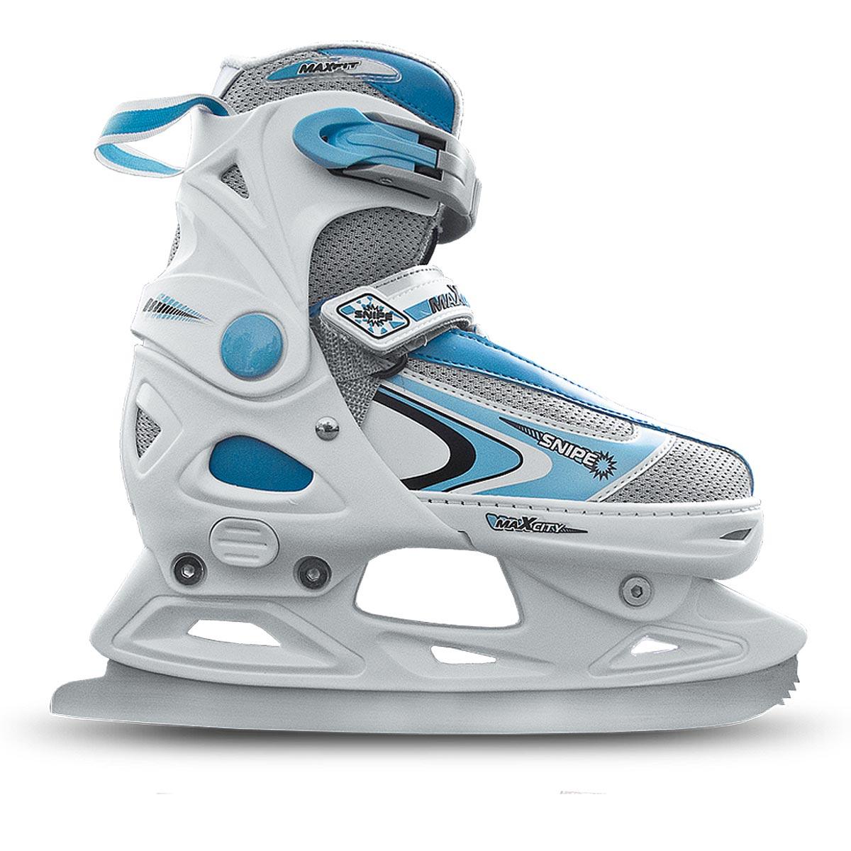 Коньки ледовые женские MaxCity Snipe Girl, раздвижные, цвет: белый, голубой. Размер 37/40SF 010Оригинальные раздвижные ледовые коньки MaxCity с ударопрочной защитной конструкцией отлично подойдут для начинающих. Ботинки изготовлены из морозостойкого пластика, который защитит ноги от ударов, и дополнены нейлоном. Внутренний материал из вельвета и капровелюра отлично согревает и обеспечивает комфорт во время движения. Нейлоновые вставки на язычке предотвращают перегревание и отводят влагу. Высокий ботинок обеспечивает отличную поддержку ноги. Модель застегивается несколькими способами для надежной фиксации ноги - классическая шнуровка, липучка Velcro и пластиковые затягивающиеся ремешки. Стальное лезвие обеспечит превосходное скольжение. Основная особенность коньков - возможность изменения размера. Изменение длины ботинка осуществляется достаточно просто и занимает несколько секунд.