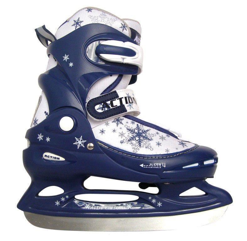 Коньки ледовые детские Action, раздвижные, цвет: синий, белый. PW-211F. Размер 34/37 Action PW-211F 2014 Blue-White_34/37