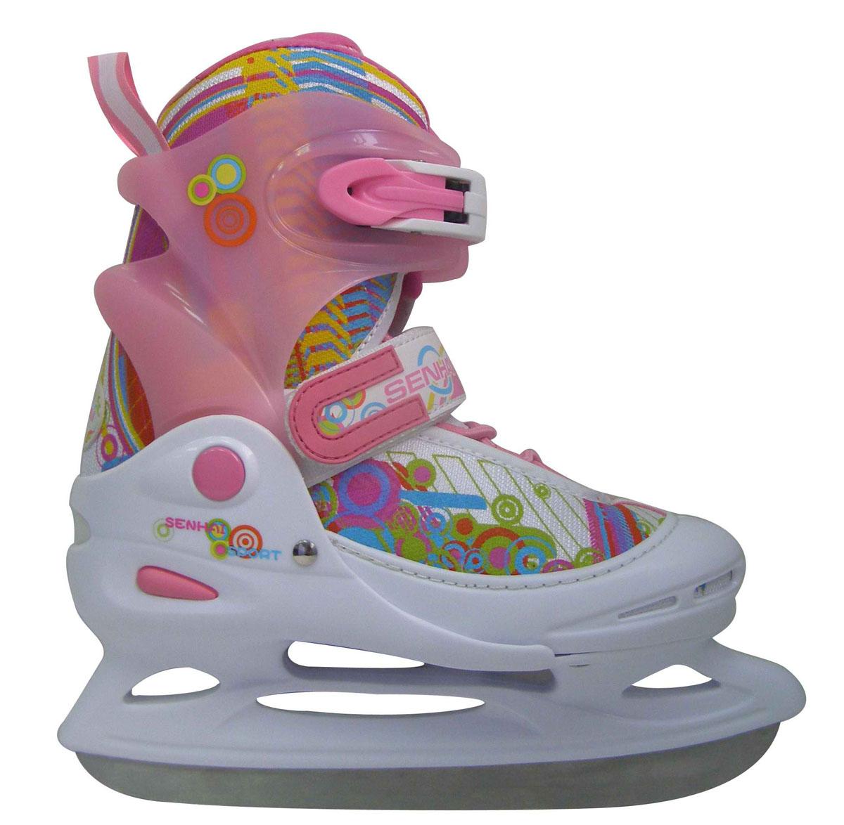 Коньки ледовые для девочки Action, раздвижные, цвет: белый, розовый, голубой. PW-111. Размер 34/37 PW-111_розовый, белый_34/37
