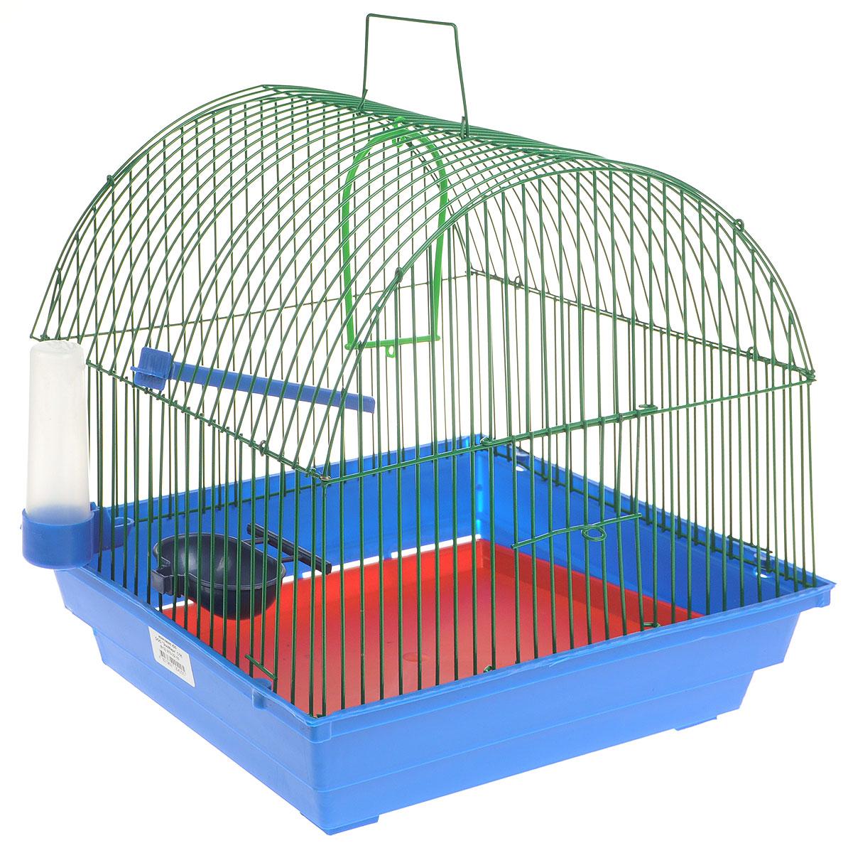 Клетка для птиц ЗооМарк, цвет: синий поддон, зеленая решетка, 35 х 28 х 34 см420_синий, зеленыйКлетка ЗооМарк, выполненная из полипропилена и металла с эмалированным покрытием, предназначена для мелких птиц. Изделие состоит из большого поддона и решетки. Клетка снабжена металлической дверцей. В основании клетки находится малый поддон. Клетка удобна в использовании и легко чистится. Она оснащена жердочкой, кольцом для птицы, поилкой, кормушкой и подвижной ручкой для удобной переноски. Комплектация: - клетка с поддоном, - малый поддон; - поилка; - кормушка; - кольцо.