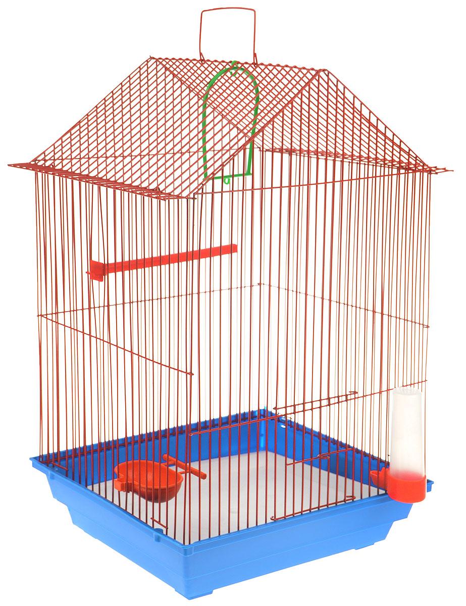 Клетка для птиц ЗооМарк, цвет: синий поддон, красная решетка, 34 x 28 х 54 см430_синий, красныйКлетка ЗооМарк, выполненная из полипропилена и металла с эмалированным покрытием, предназначена для мелких птиц. Изделие состоит из большого поддона и решетки. Клетка снабжена металлической дверцей. В основании клетки находится малый поддон. Клетка удобна в использовании и легко чистится. Она оснащена жердочкой, кольцом для птицы, поилкой, кормушкой и подвижной ручкой для удобной переноски. Комплектация: - клетка с поддоном, - малый поддон; - поилка; - кормушка; - кольцо.