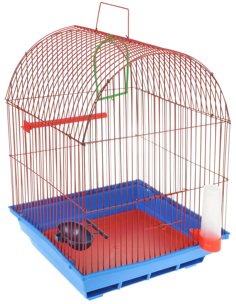 Клетка для птиц ЗооМарк, цвет: синий поддон, красная решетка, 35 х 28 х 45 см440_ синий, красныйКлетка ЗооМарк, выполненная из полипропилена и металла, предназначена для мелких птиц. Вы можете поселить в нее одну или две птицы. Изделие состоит из большого поддона и решетки. Клетка снабжена металлической дверцей, которая открывается и закрывается движением вверх-вниз. В основании клетки находится малый поддон. Клетка удобна в использовании и легко чистится. Она оснащена жердочкой, кольцом для птицы, кормушкой, поилкой и подвижной ручкой для удобной переноски. Комплектация: - клетка с поддоном, - малый поддон; - кормушка; - поилка; - кольцо.