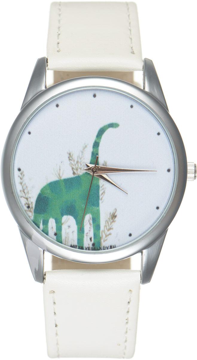 Часы наручные Mitya Veselkov Динозавр, цвет: белый, зеленый. MV.White-69MV.White-69Оригинальные часы Mitya Veselkov Динозавр понравятся вам с первого взгляда. Корпус часов выполнен из стали, и дополнен задней крышкой. В центре корпуса располагаются круглые кварцевые часы с тремя стрелками. Циферблат оформлен оригинальным изображением динозавра. Часы оснащены кожаным ремешком, который фиксируется с помощью пряжки. Часы упакованы в фирменную упаковку в виде стакана. Такие часы станут отличным подарком человеку, любящему качественные и оригинальные вещи.