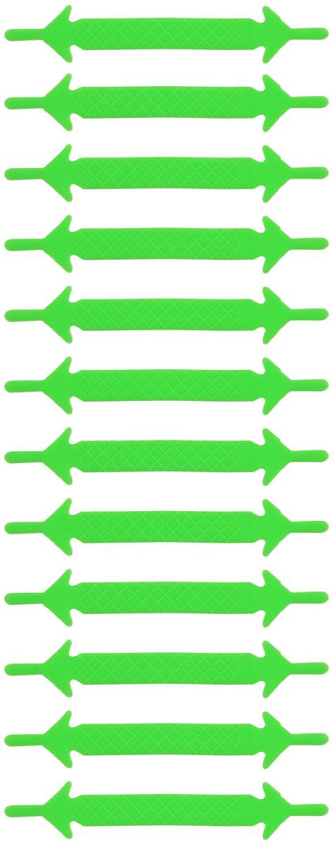 Шнурки флуоресцентные силиконовые Hilace Group, цвет: зеленый, 12 штMW-3101Оригинальные флуоресцентные силиконовые шнурки Hilace Group не оставят вас равнодушными благодаря своему яркому дизайну и практичности. Они изготовлены из качественного термостойкого силикона. Также они обладают флуоресцентными свойствами и светятся в темноте. Такие шнурки упростят надевание обуви и надежно зафиксируют ее без стягивания стопы, выдержат низкие и высокие температуры, подойдут как взрослым, так и детям.