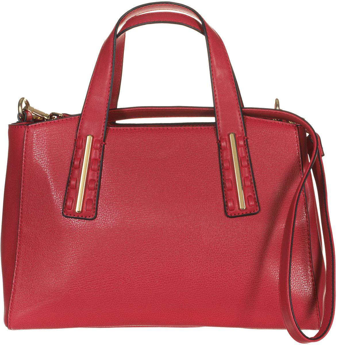Сумка женская Jane Shilton, цвет: красный. 21772177redСтильная сумка Jane Shilton не оставит вас равнодушной благодаря своему дизайну и практичности. Она изготовлена из качественной искусственной кожи зернистой текстуры и выполнена в оригинальном дизайне. На тыльной стороне расположен удобный вшитый карман на молнии. Сумка оснащена удобными ручками и съемным плечевым ремнем, который фиксируется с помощью замков-карабинов. Изделие закрывается на удобную молнию. Внутри расположено главное отделение, которое разделяет карман-средник на молнии. Также внутри расположен один открытый накладной карман для телефона и один вшитый карман на молнии для мелочей. Такая модная и практичная сумка завершит ваш образ и станет незаменимым аксессуаром в вашем гардеробе.