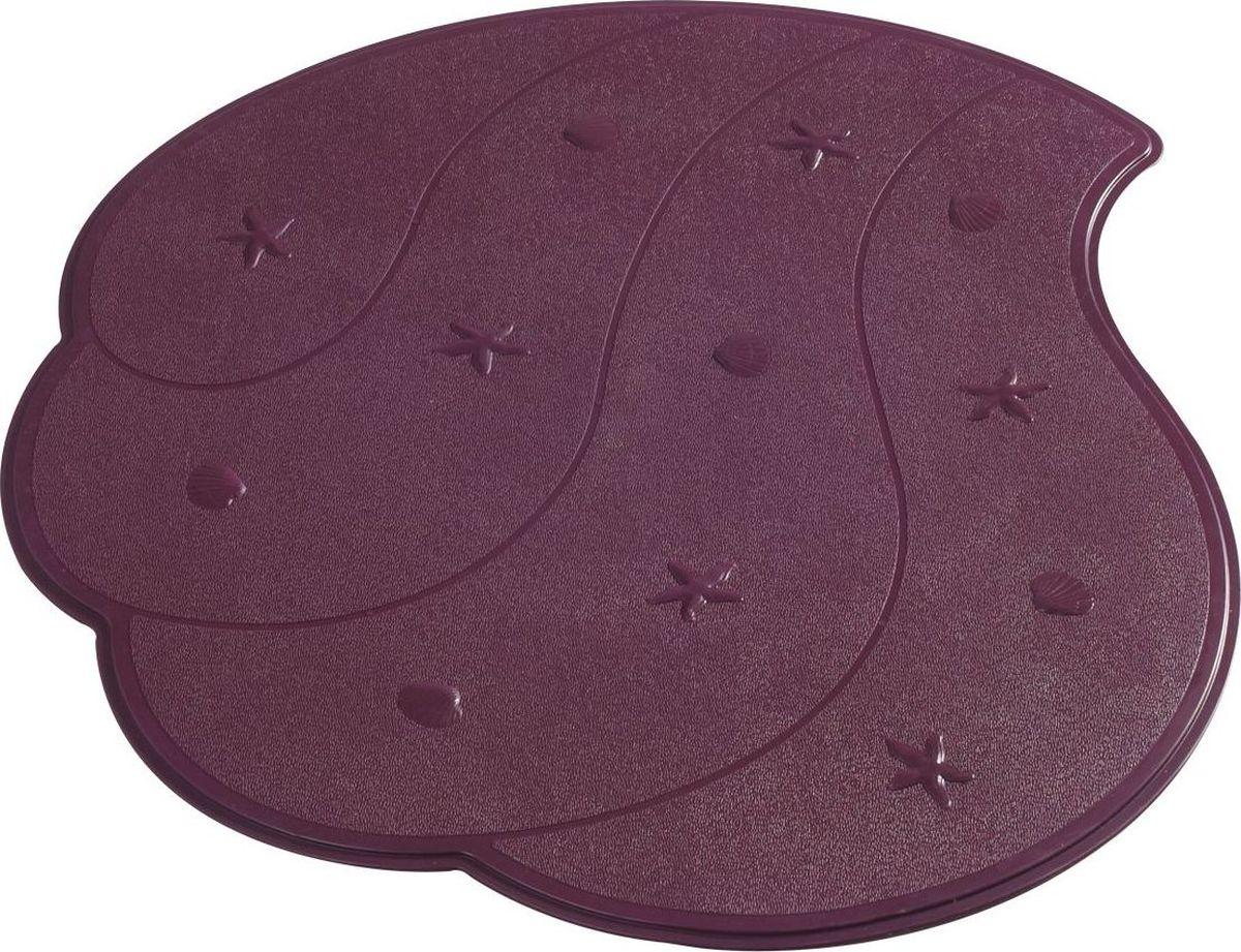 Коврик для ванной Ridder Wave, противоскользящий, на присосках, цвет: фиолетовый, 54 х 54 см коврик для ванной ridder park противоскользящий на присосках цвет бежевый 54 х 54 см