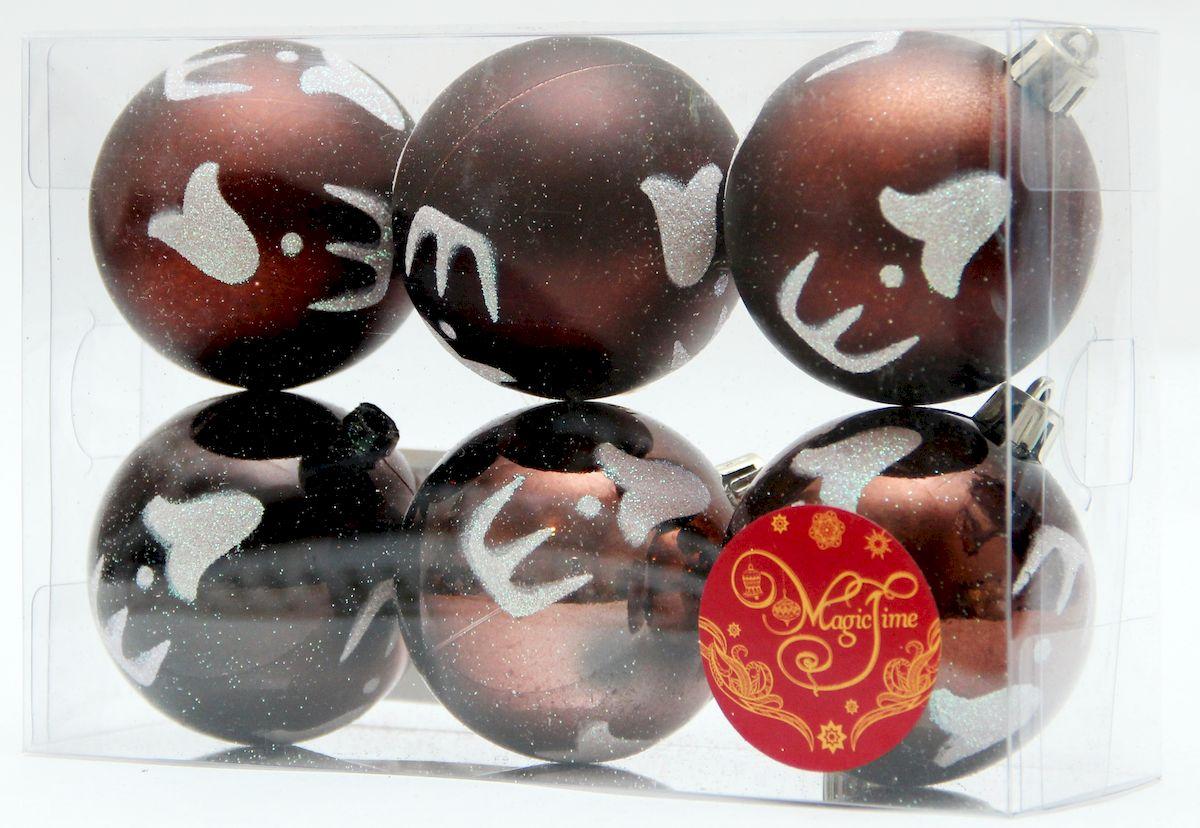 """Украшение новогоднее подвесное Magic Time """"Бронза и глазурь"""", диаметр 6 см, 6 шт 39007"""