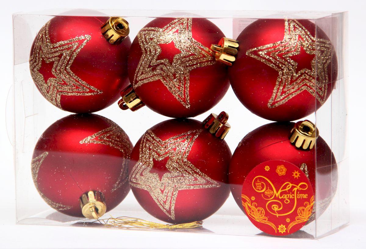 """Украшение новогоднее подвесное Magic Time """"Шар красный матовый с золотой звездой"""", диаметр 6 см, 6 шт 41919"""