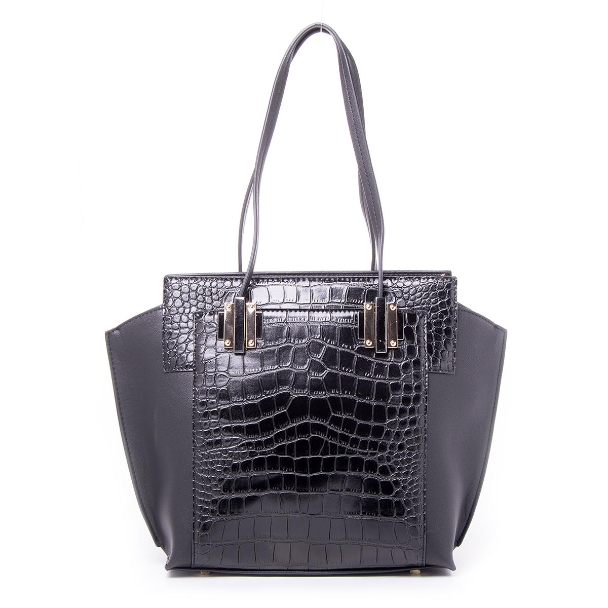 Сумка женская Renee Kler, цвет: черный. RF028-0173298с-1Стильная женская сумка Renee Kler выполнена из качественной искусственной кожи. Поверхность сумки выполнена с декоративным тиснением.Сумка имеет одно отделение и застегивается на молнию. Внутри отделения находятся два накладных кармана и один врезной карман на застежке-молнии. С двух сторон сумка дополнена большими накладными карманами на магнитных кнопках. Сумка оснащена двумя удобными ручками на металлической фурнитуре.