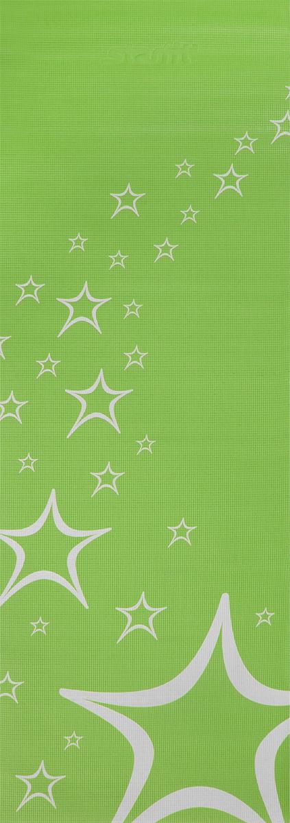 Коврик для йоги Starfit FM-102, цвет: зеленый, 173 х 61 х 0,3 смDRF-F367Коврик для йоги Star Fit FM-102 - это незаменимый аксессуар для любого спортсмена как во время тренировки, так и во время пре-стретчинга (растяжки до тренировки) и стретчинга (растяжки после тренировки). Выполнен из высококачественного ПВХ и оформлен оригинальным рисунком в виде звезд. Коврик используется в фитнесе, йоге, функциональном тренинге. Его используют спортсмены различных видов спорта в своем тренировочном процессе.Предпочтительно использовать без обуви. Если в обуви, то с мягкой подошвой, чтобы избежать разрыва поверхности коврика.