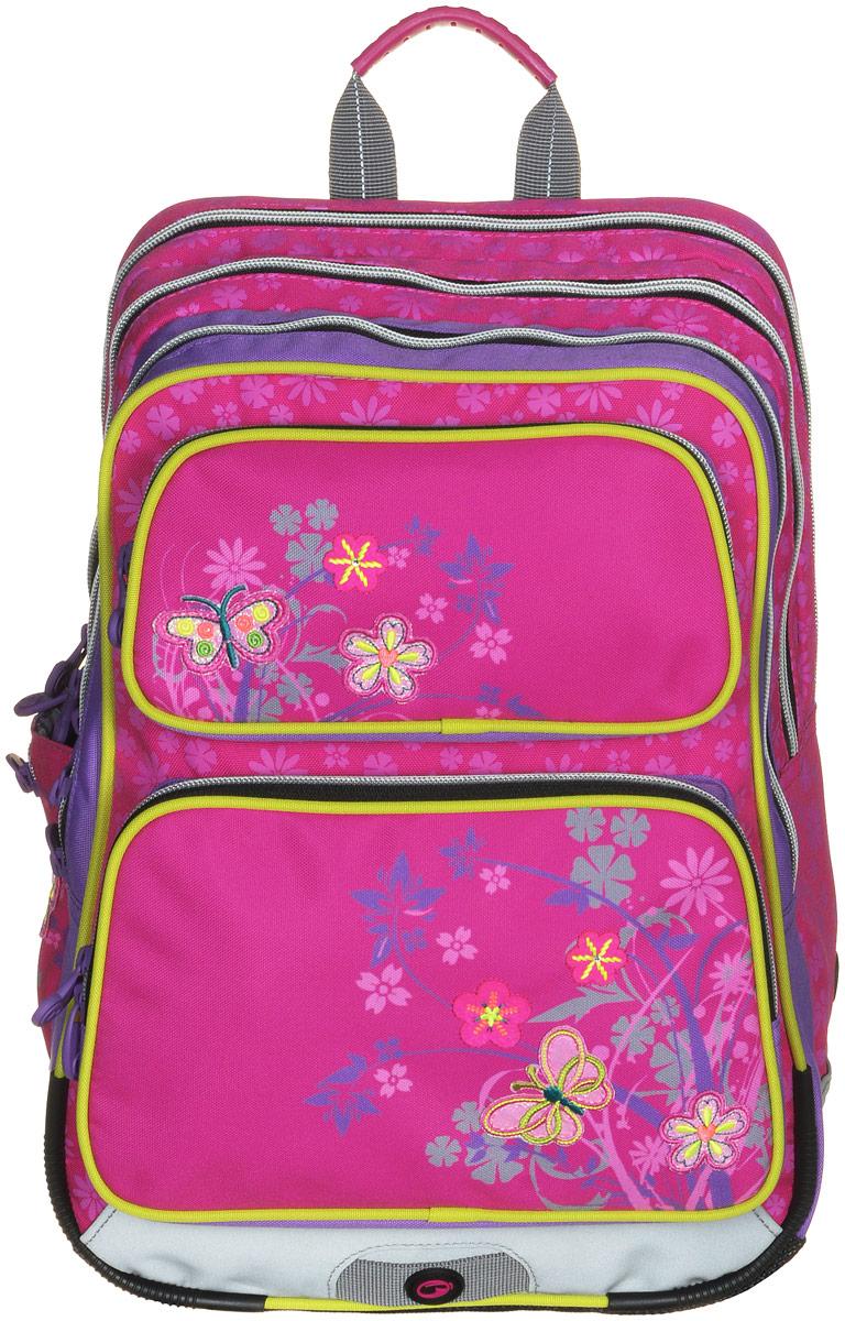 BagMaster Рюкзак детский Gotschy с наполнением цвет розовый 1 предметSVCB-RT2-896Детский рюкзак BagMaster Gotschy обязательно понравится вашей школьнице.Рюкзак выполнен из прочных и высококачественных материалов. Содержит три вместительных отделения, закрывающихся на застежки-молнии с двумя бегунками. Бегунки застежек дополнены удобными металлическими держателями.Внутри наибольшего отделения находится карман-сетка на молнии. В другом отделении располагаются открытый кармашек, отделение на липучке для мобильного телефона и три держателя для пишущих принадлежностей. Лицевая сторона рюкзака оснащена двумя накладными карманами на застежках-молниях. Рюкзак имеет один открытый боковой карман-сетка с вертикальной молнией.Специально разработанная архитектура спинки со стабилизирующими набивными элементами повторяет естественный изгиб позвоночника. Набивные элементы обеспечивают вентиляцию спины ребенка. Задняя часть спинки дополнена легкой алюминиевой рамкой, повторяющей контур позвоночника и снимающей нагрузку.Мягкие широкие лямки анатомической формы повторяют естественный изгиб плечевого пояса, обеспечивая комфортную посадку рюкзака и свободу движений. Лямки имеют регулируемую длину. Грудное крепление предусмотрено для фиксации лямок на плечах ребенка.Рюкзак оснащен эргономичной ручкой для удобной переноски в руке. Прочное дно с пластиковыми ножками обеспечивает рюкзаку хорошую устойчивость и защиту от загрязнений. Светоотражающие элементы обеспечивают безопасность в темное время суток. К рюкзаку прилагается мешок для сменной обуви.Многофункциональный рюкзак станет незаменимым спутником вашего ребенка в походах за знаниями.