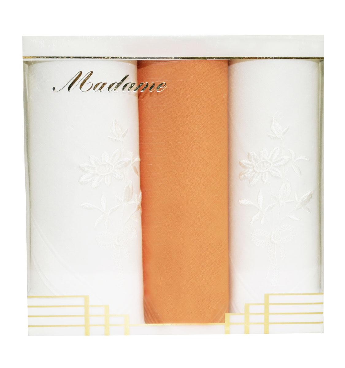 Платок носовой женский Zlata Korunka, цвет: белый, оранжевый, 3 шт. 25605-22. Размер 29 см х 29 см25605-22Небольшой женский носовой платок Zlata Korunka изготовлен из высококачественного натурального хлопка, благодаря чему приятен в использовании, хорошо стирается, не садится и отлично впитывает влагу. Практичный и изящный носовой платок будет незаменим в повседневной жизни любого современного человека. Такой платок послужит стильным аксессуаром и подчеркнет ваше превосходное чувство вкуса. В комплекте 3 платка.