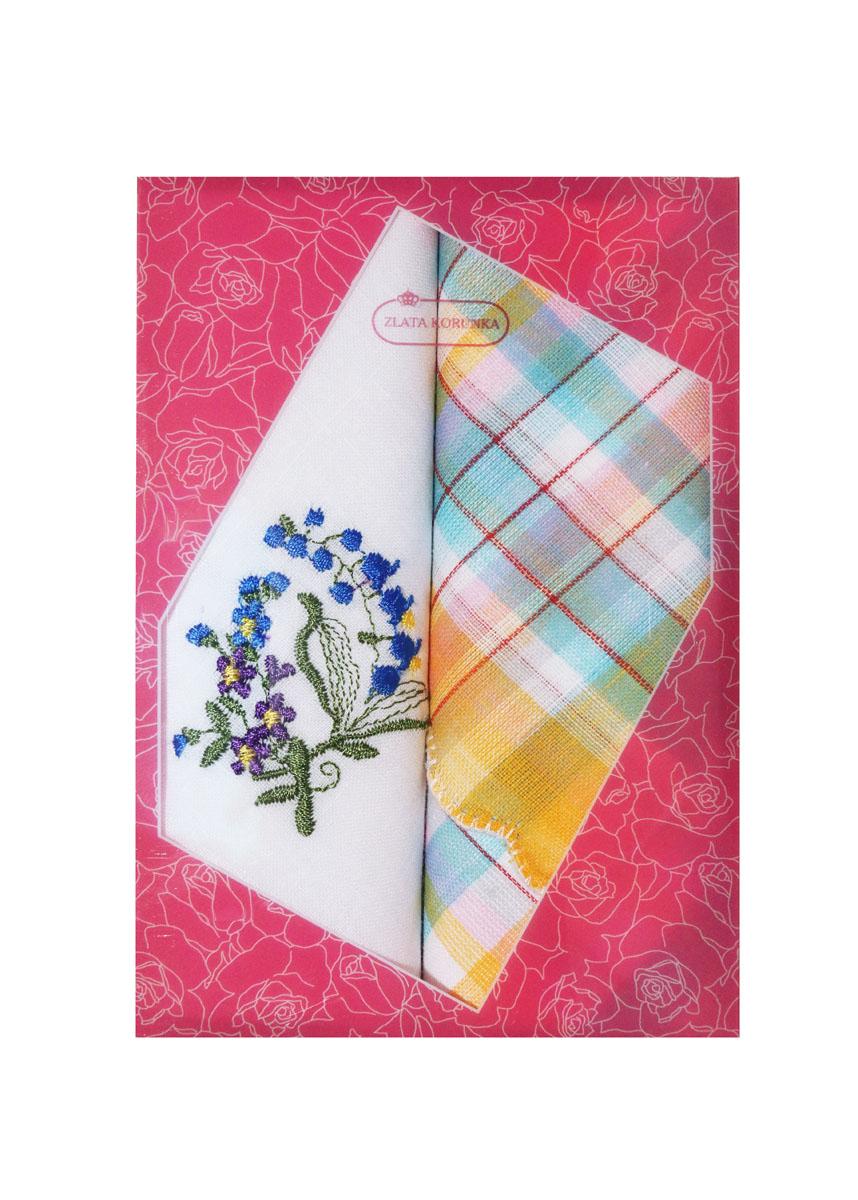 Платок носовой женский Zlata Korunka, цвет: белый, желтый, голубой, 2 шт. 40222-13. Размер 29 см х 29 см40222-13Небольшой женский носовой платок Zlata Korunka изготовлен из высококачественного натурального хлопка, благодаря чему приятен в использовании, хорошо стирается, не садится и отлично впитывает влагу. Практичный и изящный носовой платок будет незаменим в повседневной жизни любого современного человека. Такой платок послужит стильным аксессуаром и подчеркнет ваше превосходное чувство вкуса. В комплекте 2 платка.