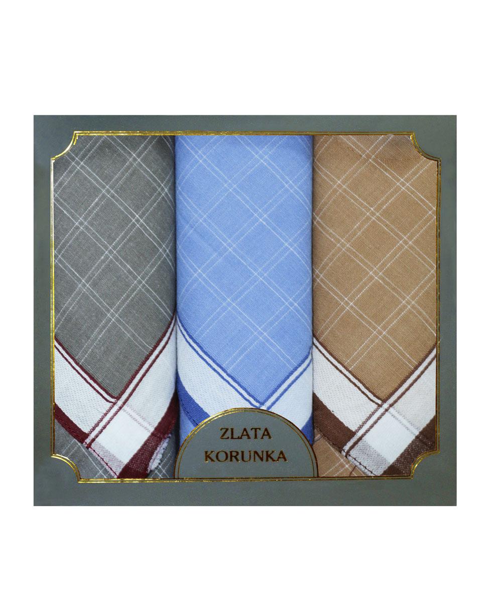 Платок носовой мужской Zlata Korunka, цвет: серый, голубой, бежевый. 40313-4. Размер 38 х 38 см, 3 шт40313-4Носовой платок Zlata Korunka изготовлен из высококачественного натурального хлопка, благодаря чему приятен в использовании, хорошо стирается, не садится и отлично впитывает влагу. Практичный носовой платок будет незаменим в повседневной жизни любого современного человека. Такой платок послужит стильным аксессуаром и подчеркнет ваше превосходное чувство вкуса. В комплекте 3 платка.