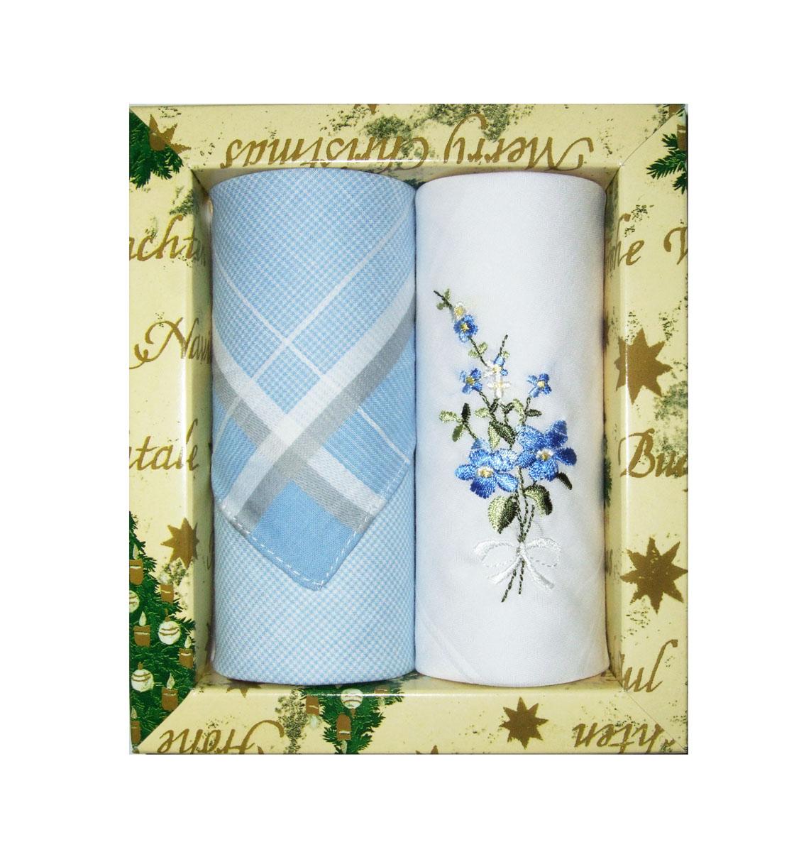 Платок носовой женский Zlata Korunka, цвет: голубой, белый, 2 шт. 67004. Размер 27 см х 27 см67004Небольшой женский носовой платок Zlata Korunka изготовлен из высококачественного натурального хлопка, благодаря чему приятен в использовании, хорошо стирается, не садится и отлично впитывает влагу. Практичный и изящный носовой платок будет незаменим в повседневной жизни любого современного человека. Такой платок послужит стильным аксессуаром и подчеркнет ваше превосходное чувство вкуса. В комплекте 2 платка.