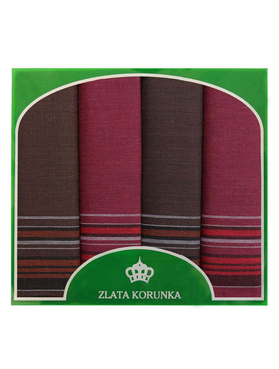 Платок носовой мужской Zlata Korunka, цвет: бордовый, темно-коричневый. 71419-2. Размер 34 х 34 см, 4 шт71419-2Носовой платок Zlata Korunka изготовлен из высококачественного натурального хлопка, благодаря чему приятен в использовании, хорошо стирается, не садится и отлично впитывает влагу. Практичный носовой платок будет незаменим в повседневной жизни любого современного человека. Такой платок послужит стильным аксессуаром и подчеркнет ваше превосходное чувство вкуса. В комплекте 4 платка.