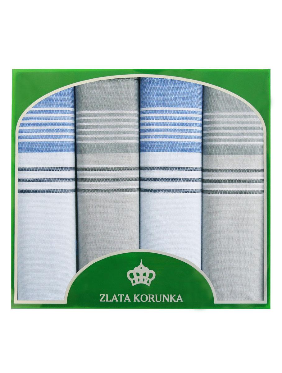 Платок носовой мужской Zlata Korunka, цвет: белый, голубой, светло-серый. 71419-4. Размер 34 х 34 см, 4 шт71419-4Носовой платок Zlata Korunka изготовлен из высококачественного натурального хлопка, благодаря чему приятен в использовании, хорошо стирается, не садится и отлично впитывает влагу. Практичный носовой платок будет незаменим в повседневной жизни любого современного человека. Такой платок послужит стильным аксессуаром и подчеркнет ваше превосходное чувство вкуса. В комплекте 4 платка.