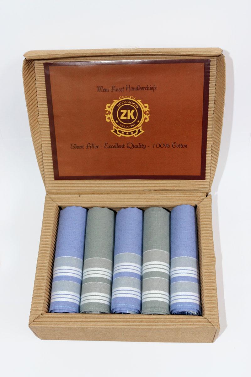 Платок носовой мужской Zlata Korunka, цвет: голубой, серый, 5 шт. 90512-9. Размер 29 см х 29 см39864|Серьги с подвескамиОригинальный мужской носовой платок Zlata Korunka изготовлен из высококачественного натурального хлопка, благодаря чему приятен в использовании, хорошо стирается, не садится и отлично впитывает влагу. Практичный и изящный носовой платок будет незаменим в повседневной жизни любого современного человека. Такой платок послужит стильным аксессуаром и подчеркнет ваше превосходное чувство вкуса.В комплекте 5 платков.