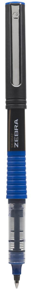 Zebra Ручка-роллер SX-60A5 цвет чернил синий72523WDZebra SX-60A5 - это удобная функциональная ручка-роллер современного дизайна. Корпус ручки выполнен из темного пластика. Рифленая вставка в цвет чернил в середине корпуса не только является удачным элементом декора, но и создает дополнительный комфорт при письме. Прочный стальной зажим обтекаемой формы точно вписывается в дизайн модели и придает законченность образу идеального пишущего инструмента. Стреловидный пишущий наконечник пишет ровно и аккуратно до последней капли чернил.