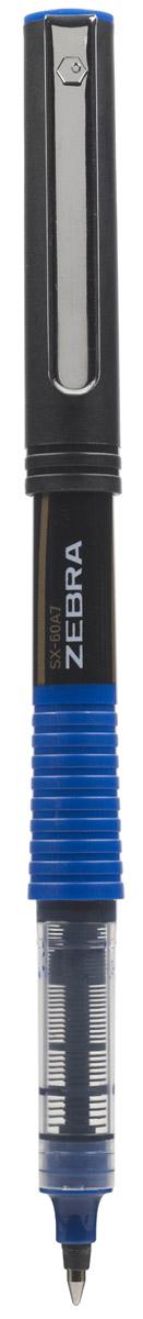 Zebra Ручка-роллер SX-60A7 цвет чернил синий277751Zebra SX-60A7 – это удобная функциональная ручка-роллер современного дизайна. Корпус ручки выполнен из темного пластика. Рифленая вставка в цвет чернил в середине корпуса не только является удачным элементом декора, но и создает дополнительный комфорт при письме. Прочный стальной зажим обтекаемой формы точно вписывается в дизайн модели и придает законченность образу идеального пишущего инструмента. Стреловидный пишущий наконечник пишет ровно и аккуратно до последней капли чернил.