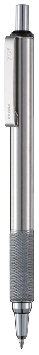 Zebra Ручка шариковая F-701 цвет корпуса серебристый72523WDZebra F-701 - элегантная ручка нового поколения. В современных линиях корпуса виден точный расчет высококлассных инженеров и дизайнеров, а качество письма соответствует высочайшим требованиям японской компании Zebra. Ручка имеет оригинальное рифление в передней части корпуса, которое служит одновременно украшением ручки и предотвращает скольжение пальцев. Практически вечная автоматическая шариковая ручка: цельнометаллический корпус с металлическим клипом сломать очень сложно.