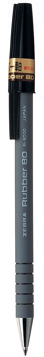 Zebra Ручка шариковая Rubber 80 цвет корпуса серый72523WDШариковая ручка Zebra Rubber 80 имеет долговечный стальной пишущий наконечник. Корпус из микропористого каучука обеспечивает особый комфорт, а четыре кольцевые канавки в передней части корпуса предотвращают скольжение пальцев и дают дополнительный контроль при письме.