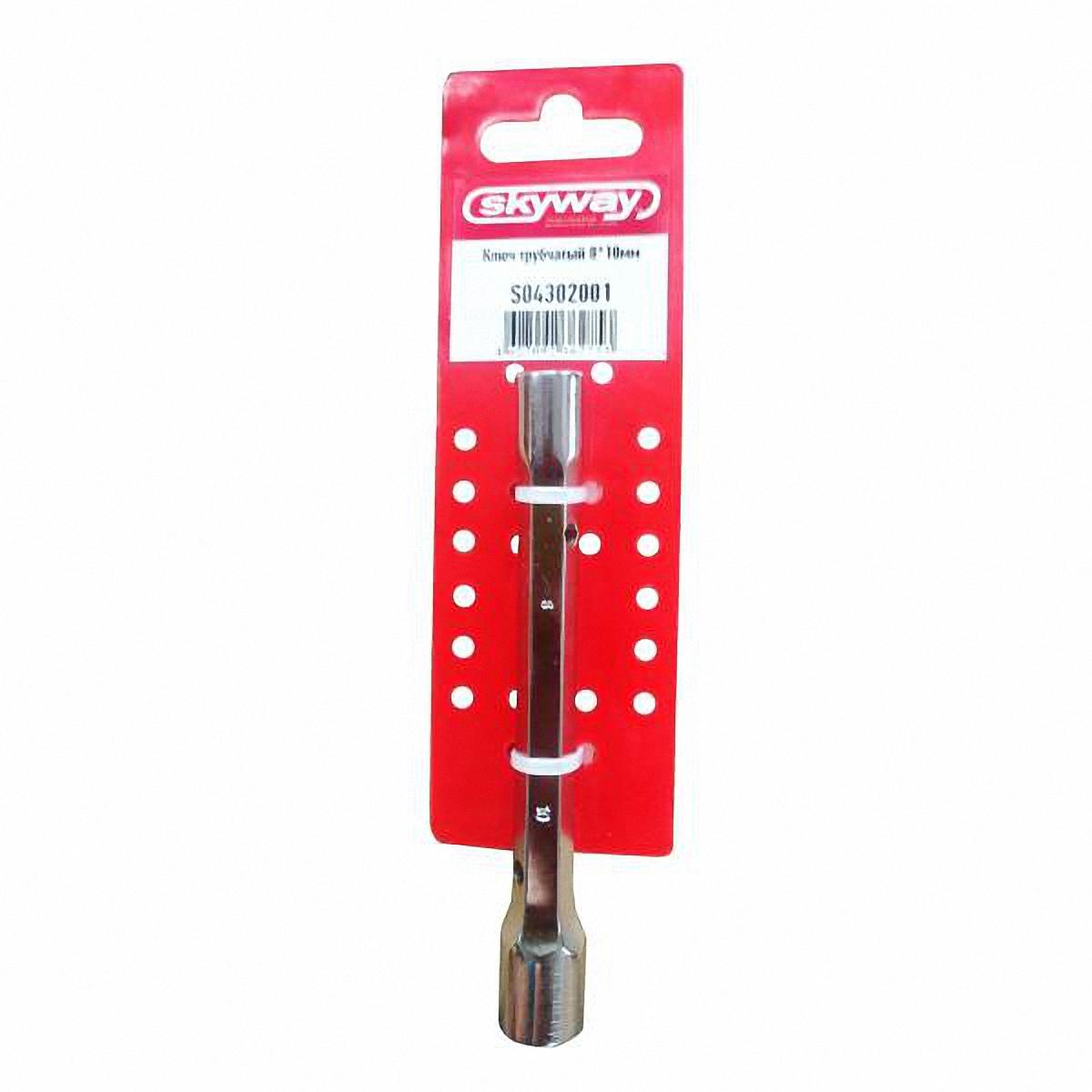 Ключ торцевой Skyway, кованый, 8 х 10 ммS04302001Ключ торцевой кованый используется для монтажа и демонтажа резьбовых соединений с шестигранным профилем. Особенности: Хромированная поверхность, препятствующая появлению ржавчины. Наличие шестигранного основания для использования рожкового ключа. Наличие отверстий для воротков. Диаметр шестигранных головок: 8 мм, 10 мм. Длина: 117 мм.