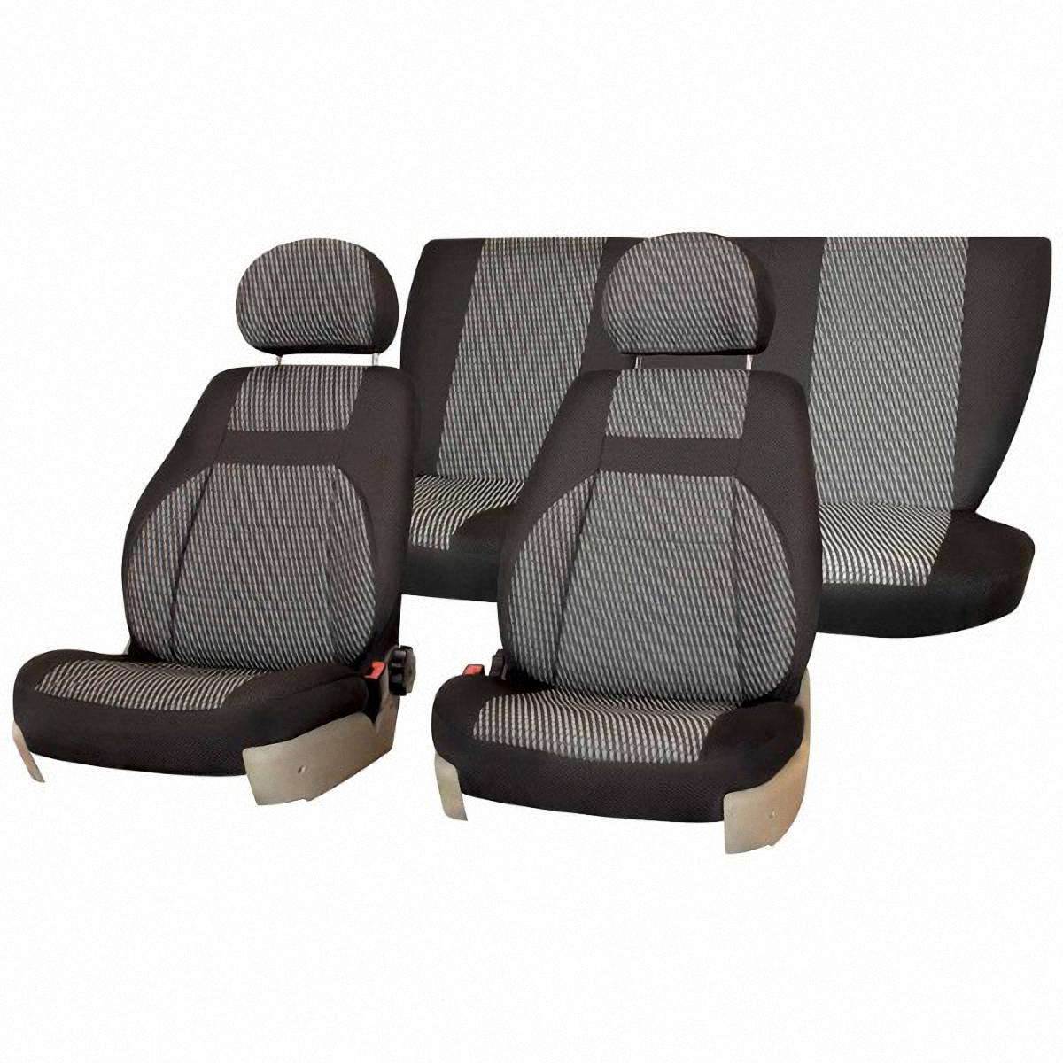 Чехлы автомобильные Skyway, для Lada Kalina 2004-2012, цвет: светло-серыйV003-D1Автомобильные чехлы Skyway изготовлены из качественного жаккарда. Чехлы идеально повторяют штатную форму сидений и выглядят как оригинальная обивка сидений. Разработаны индивидуально для каждой модели автомобиля. Авточехлы Skyway просты в уходе - загрязнения легко удаляются влажной тканью. Чехлы имеют раздельную схему надевания. В комплекте 12 предметов.