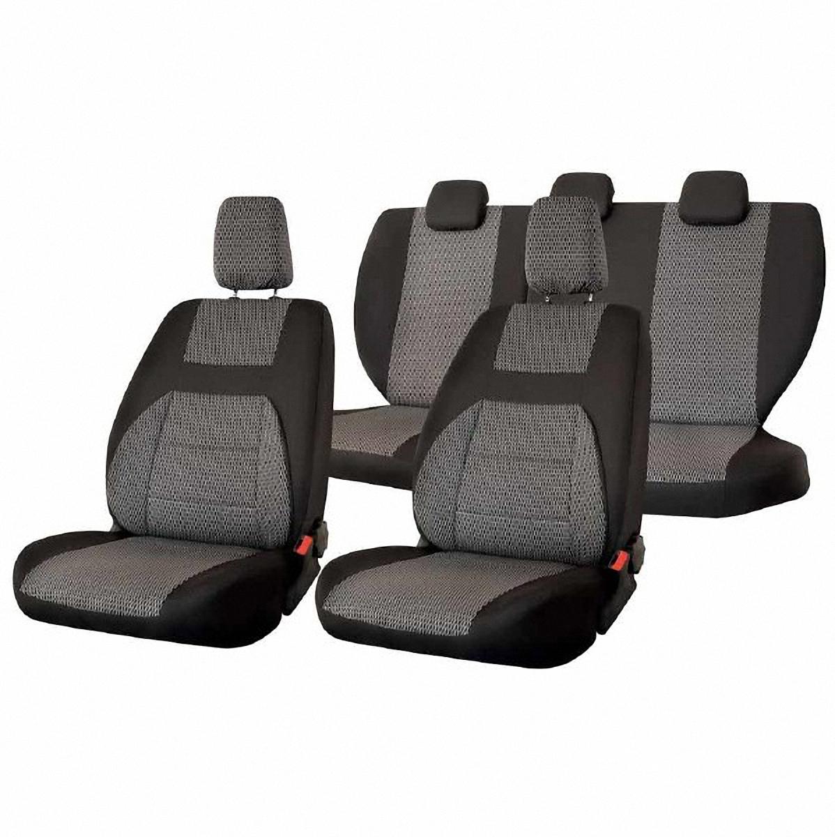 Чехлы автомобильные Skyway, для Lada Granta, цвет: темно-серыйV004-D2Автомобильные чехлы Skyway изготовлены из качественного жаккарда. Чехлы идеально повторяют штатную форму сидений и выглядят как оригинальная обивка сидений. Разработаны индивидуально для каждой модели автомобиля. Авточехлы Skyway просты в уходе - загрязнения легко удаляются влажной тканью. Чехлы имеют раздельную схему надевания. Заднее сиденье - сплошное. В комплекте 11 предметов.